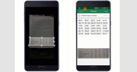 تطبيق إكسل على أندرويد لإدراج جدول بيانات من صورة