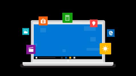 كمبيوتر محمول محاط بأيقونات أهم ميزات Windows 10